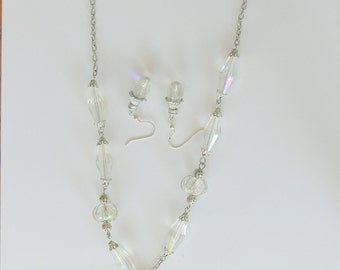 crystal necklace and danlge earrings