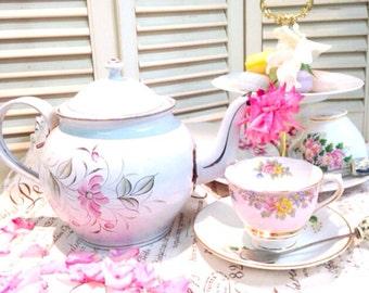 Vintage European Enamelware Teapot - Pink Flowers - French Farmhouse Decor (SALE WAS 72.00)