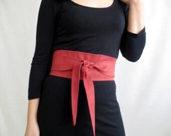 Cherry suede vegan leather obi belt , pink obi belt, vegan leather sash belt, pink belt, faux leather belt