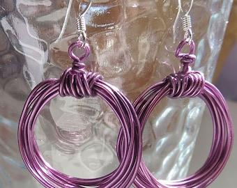 Handmade Purple Wire Hoop Earrings