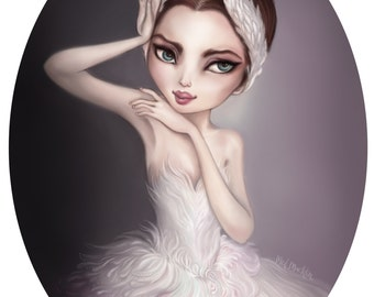 Odette - A4 Limited Edition Fine Art Print - Inspired by Swan Lake, Ballet, White Swan, Princesses and Fairytales