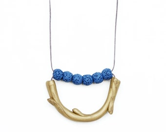 Polymer Clay Necklace, Gold Branch Necklace, Blue Coral Necklace