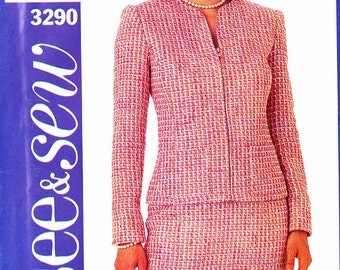 See&Sew 3290 Zip front edge to edge style fitted jacket and straight skirt Size 10