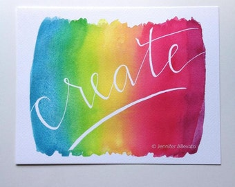 CLEARANCE Create watercolor bright art print rainbow colorful craft room kids