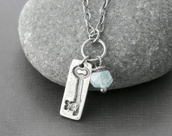Sterling Charm Necklace Aquamarine Skeleton Key Artisan Jewelry