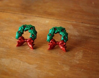 Christmas Wreath Earrings -- Wreath Studs, Christmas Earrings
