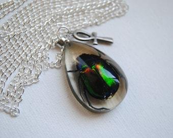 Scarab Beetle Necklace -- Real Beetle -- Bug Jewelry --- Egyptian Scarab Beetle -- Ankh Cross -- Boho Chic -- Acrylic Beetle