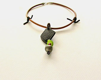 Tribal Ethnic Jewelry, Leather Statement Necklace, Geometric Balance