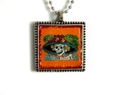 Day of the Dead- Pendant Necklace- La Catrina- Orange