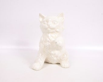 Vintage White Persian Cat Figurine White Kitten Blue Eyed Kitty Hand Painted Ceramic Feline