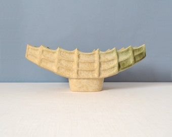 Vintage Symmetrical Footed Ceramic Ikebana Boat Tray