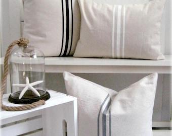 French Grainsack Canvas Pillow / Nautical Pillow / Grey Pillows / White Pillow / Black Pillows / Lakehouse Pillow / Beachy Pillow