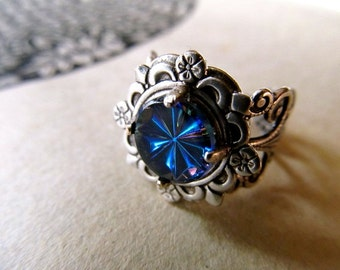 Art Nouveau Ring Art Deco Ring Gothic Ring Sterling Silver Ring Art Nouveau Jewelry Pinky Ring Filigree Ring Blue Ring- Cosmic Rays