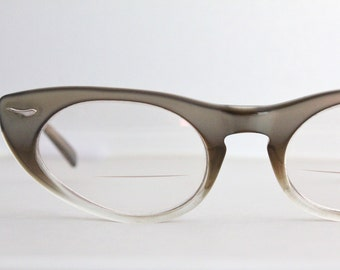 Vintage 50's Brown Gray Fade Cat Eyeglasses Sunglass Frames