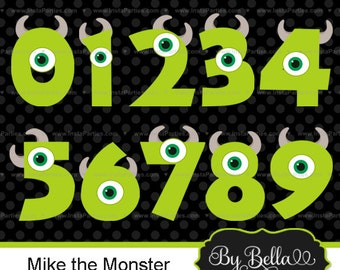 INSTANT DOWNLOAD monsters school clipart numbers clip art Mike green for scrapbooking or invitations