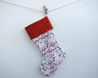 christmas stocking, modern poinsettias, birds, and sage green holiday decoration. large stocking,washable and durable stocking.