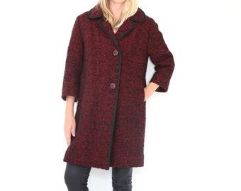SALE Vintage 50s Tweed Coat Black and Burgundy Diamond Pattern Heavy Winter Coat Piping Trim