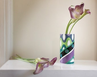 1960s Pucci for Rosenthal Porcelain Wave Vase in Blue, Green & Violet