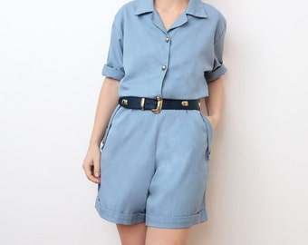 Vintage blue summer jumpsuit / shorts overalls playsuit small
