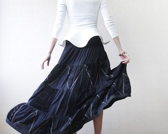 Black patchwork floor length flared circle maxi skirt