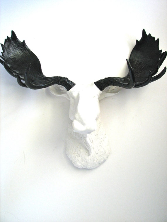 White black faux taxidermy moose head wall hanging wall mount - Fake moose head mount ...