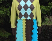 Argyle Art Wear Brown/Blue/Chartreuse Tunic Sweater - Upcycled