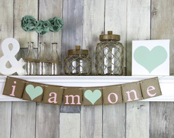 I am one banner, One Year Photo Prop, First Birthday Banner, One Banner