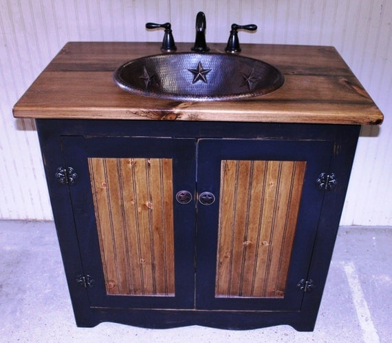 "Bathroom Vanity -  Copper Sink -  36""  - Rustic Bathroom Vanity -  Black - Bathroom Vanity with sink - Bathroom Vanities - Sink - Copper"