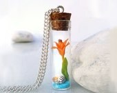 Tiger lily bottle necklace, polymer clay flower, exotic sea shell & sand glass vial necklace, girlfriend gift for her women's gifts under 40