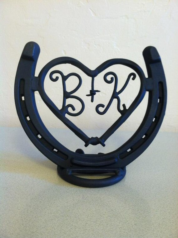 Lucky in Love Welded Metal Horseshoe Heart with Personalized Initials - Ideal Wedding or Anniversary Gift