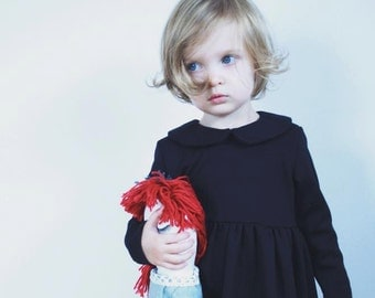 "Black Jersey Girls Dress - Peter Pan Collar - Long Sleeve - Handmade by OffOn ""No Sugar"""
