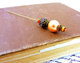 HAT PIN Beaded womens jewelry scarf lapel stick pin apricot peach gold elegant brooch vintage look