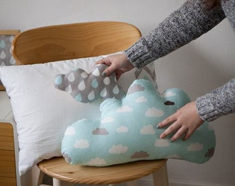 Cloud Cotton Fabric - Misty Mint and Gray - By the Yard 69811