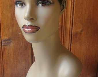 Dark Hair Mannequin Head - Natural Black Molded Hair Mannequin Bust - African Dark Skin Earring Model - Hat-Jewelry Display Stand Photo Prop