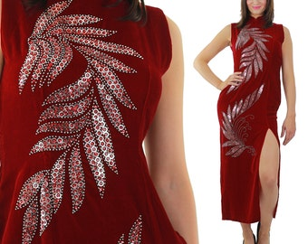 Red velvet  dress Sequin studded velvet maxi dress High slit velvet Cocktail party dress velvety high neck L