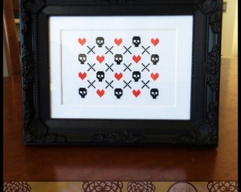 Skulls & Hearts Printable Cross Stitch Pattern (PDF) - Immediate Download from Etsy -  Unique Needle Craft