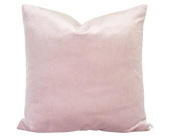 Schumacher Pink Velvet and Flax Linen Pillow Cover
