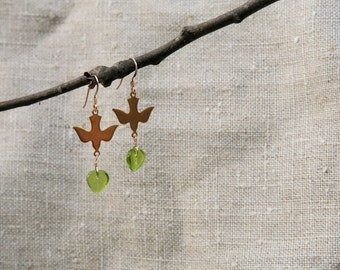 Darling dove earrings with Czech glass green leaf drops on 14kt gold filled ear wires