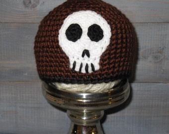 0 to 3 month Skull Crossbones Brown Crochet Hat
