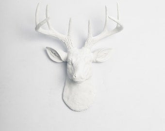 Deer Figurine - SHIPS in 1 DAY! The MINI Templeton - White Resin Deer Head - Charming Wall Animal & Mounted Art by White Faux Taxidermy