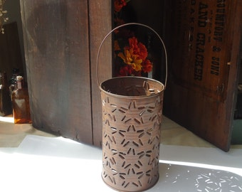 colonial home candle sleeve, rustic lighting, hanging lantern punched tin, country primitive decor, fall decor, party lights,
