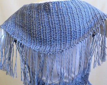 Blue Denim Shawl with Fringe: Hippie Shawl, Triangle Scarf, Baktus, Crochet Scarf, Gifts for Her, Handmade in the USA, Ready to Ship