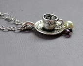 Silver Teacup Dainty 3D Necklace Feminine Pearl Purple Victorian Tea Cup Saucer Pendant Gift Fashion Jewelry PaisleyBeading Free Shipping
