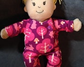 Reversible Footie Pajamas in Purple Forest and Pale Pink for Baby Stella, Boy Dolls, Waldorf and 13, 14, 15, 16 Inch Dolls