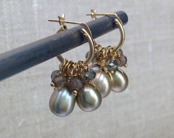 Golden Pearls and Mystic Smoky Quartz Earrings - Pearls and Gemstones Wrapped on Golden Hoops, Style Number E940