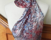 Devore satin scarf hand dyed blue, red & plum-Fireworks silk scarf #373, ready to ship
