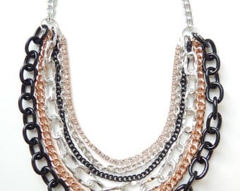 Rose Gold Statement Necklace chunky chain necklace statement jewelry crystal rhinestone ROYALS