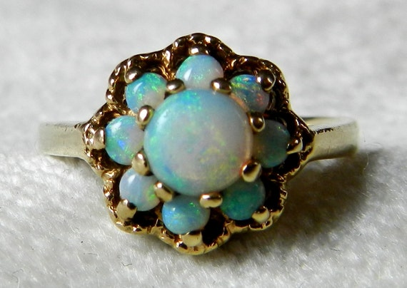 Opal Ring Opal Engagement Antique Australian by LoveAlwaysGalicia