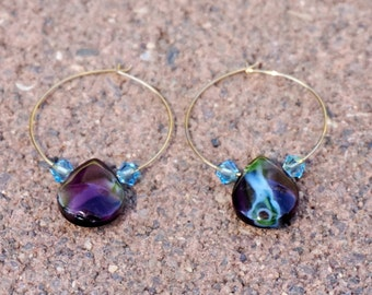 Small Gold Hoops with Purple Glass Teardrops/Blue Swarovski Crystals, Small Gold Hoop Earrings, Lightweight Earrings, Simple Gold Earrings