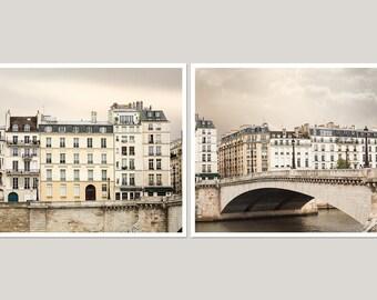 Paris photography set, large wall art set of 2 prints, Paris architecture art, Paris wall art, 11x14, 12x16, 16x20, beige living room decor